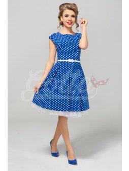 Dámské šaty Polka s puntíkem modré