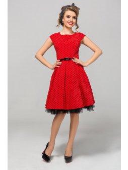 Dámské šaty Polka červené s černým puntíkem