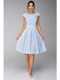 Dámské šaty Polka prodloužené světle modré