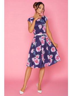 Dámské šaty Klaudie modré s růžemi - prodloužená délka