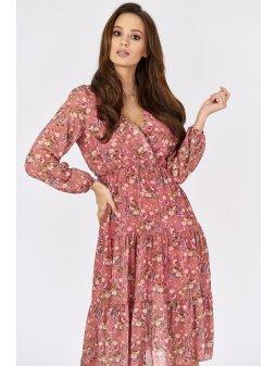 kopertowa sukienka midi z nadrukiem w kwiaty (1)
