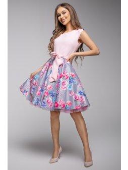 Dámské šaty Roztančená šedé s růžovou
