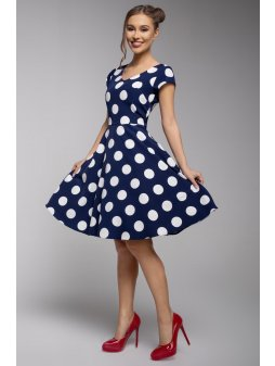 Dámské šaty modré s velkým puntíkem