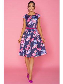 Dámské šaty Klaudie modré květiny - prodloužená délka