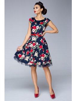 Dámské šaty Dara květinové modré s červenými květy