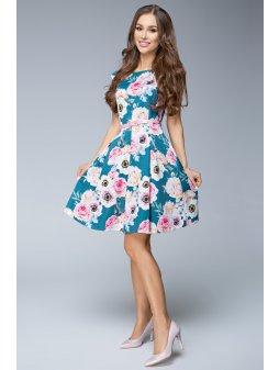 Dámské šaty Dara květinové zelenkavé