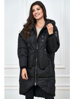czarna kurtka z ozdobnym pikowaniem (2)