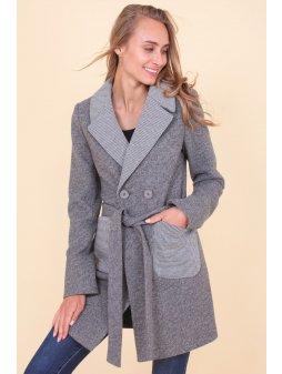 Dámský podzimní kabát Kostka, šedý