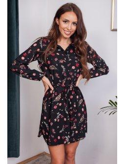 Šaty Alenka, černé s květy