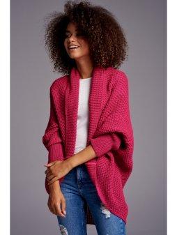 sweter narzutka oversize ilm a01 amarantowy