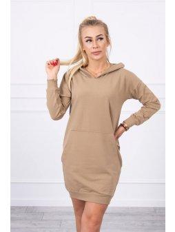 eng pl Hooded dress camel 17895 4