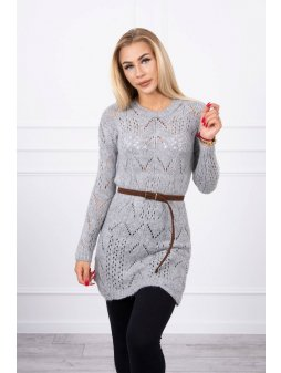eng pl Sweater with a decorative belt gray 17964 3