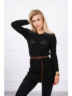 eng pl Sweater with a decorative belt black 17962 3 (1)