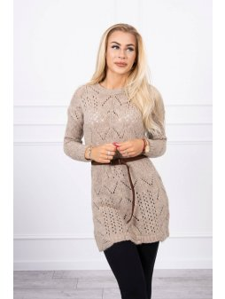 eng pl Sweater with a decorative belt beige 17959 3