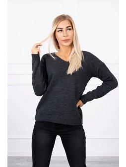eng pl Sweater with V neckline graphite 18316 1 (1)