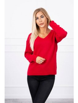 eng pl Sweater with V neckline red 18314 1