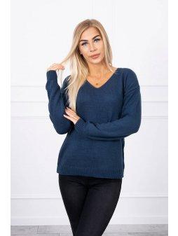 eng pl Sweater with V neckline navy blue 18317 1
