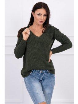 eng pl Sweater with V neckline khaki 15498 3