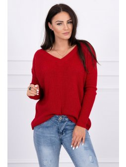 eng pl Sweater with V neckline red 15501 1