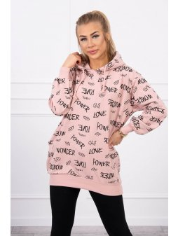 eng pl Sweatshirt with inscriptions dark powdered pink 19736 4