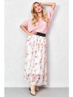 tiulowa spodnica z nadrukiem w kwiaty