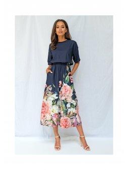 sukienka midi z kwiatowym borderem granatowa (1)
