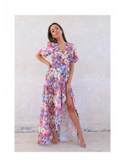 flower wrap dress with asymetric skirt