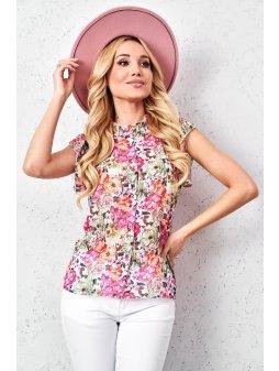koszulowa bluzka w kwiaty z szyfonu