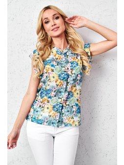 koszulowa bluzka w kwiaty z szyfonu (4)