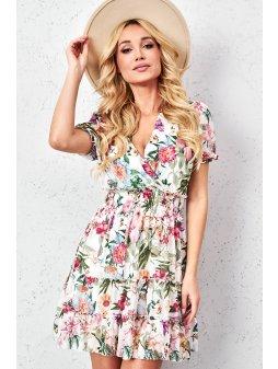 kwiecista sukienka z guma w pasie