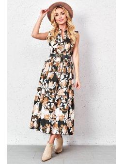 camelowa sukienka maxi ze zlotym paskiem (3)