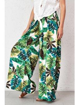 satynowe spodnie palazzo w liscie palmowe (2)