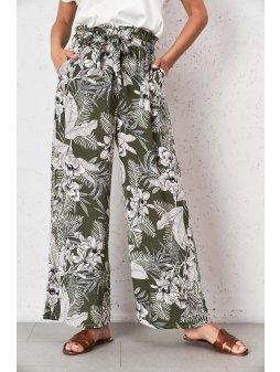 spodnie palazzo w kolorze khaki w kwiaty (1)
