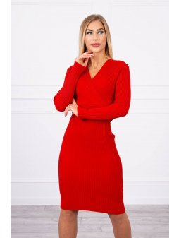 eng pl Sweater Dress fitted with a V neck red 19264 4