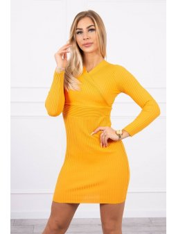 eng pl Sweater Dress fitted with a V neck mustard 19267 3 (1)