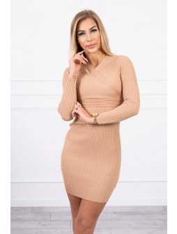 eng pl Sweater Dress fitted with a V neck beige 19431 6
