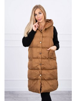eng pl Quilted vest with a hood camel 20698 2