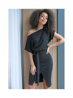 black midi dress with loose top (1)