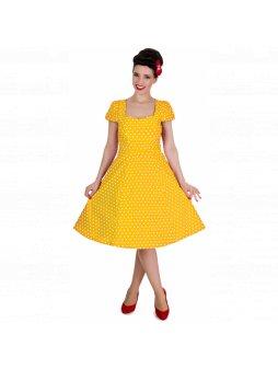 Dolly and Dotty retro šaty Claudia s puntíky, žluté (Velikost 34)