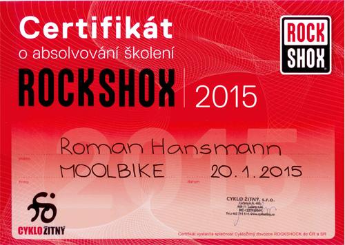 Ukázka certifikátu - RockShox centrum