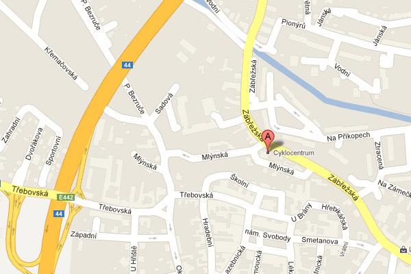 Prodejna moolbike Mohelnice, mapa