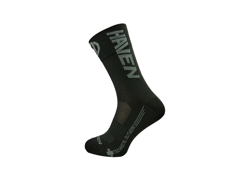 Cyklistické ponožky HAVEN Lite long černo/šedé