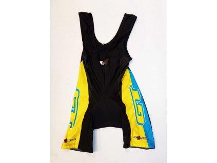 GT Bib Shorts pánské kraťasy s laclem černo-žluto-modré