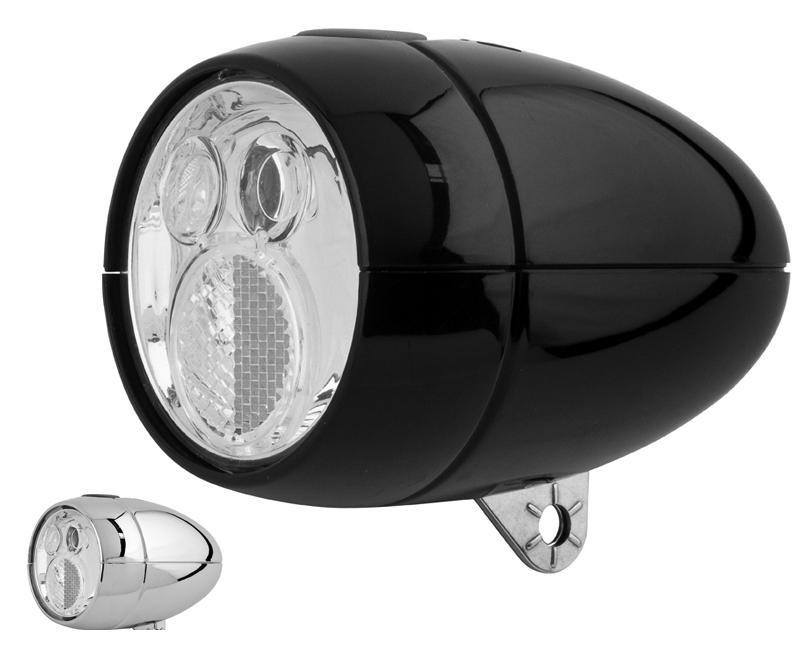 Přední světlo na kolo diodové Retro Classic Cycle Chromové