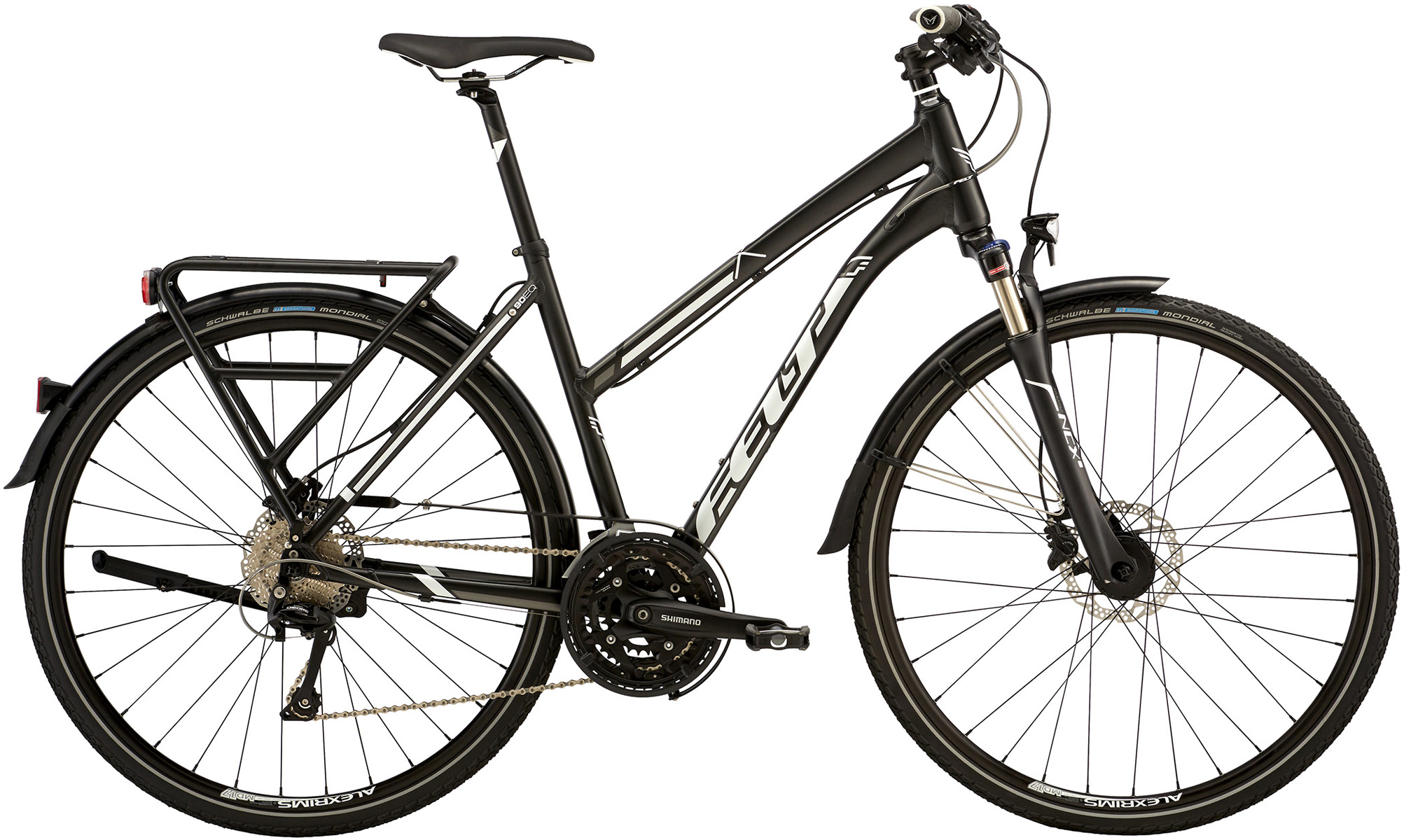 "Dámské trekové kolo FELT QX90EQ 2016 + cyklovýbava za 800 Kč zdarma černá, 17"", 44 cm"