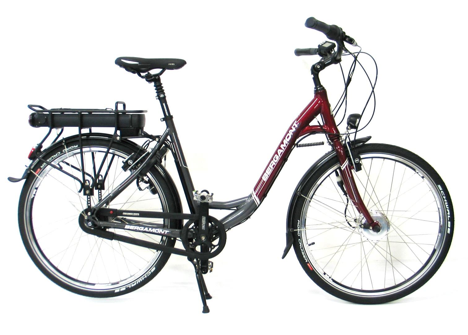"Elektrokolo Bergamont E-line + cyklopumpa BFP-21 za 699 Kč zdarma šedo-červená, 17"", kola 26"", rám 44 cm"