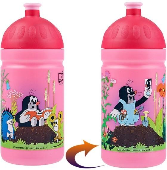 Dětská láhev na kolo zdravá 0.5l krtek růžová
