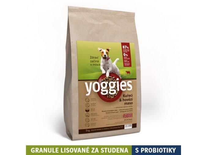 5 kg kureci a hovezi maso granule lisovane za studena s probiotiky yoggies
