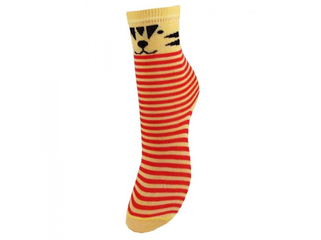 Veselé bavlněné dětské ponožky - TYGŘÍK - červené