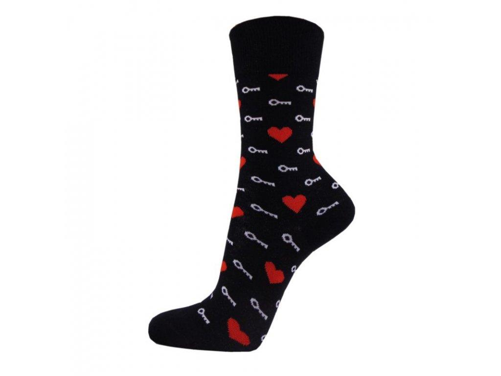 Veselé bavlněné ponožky KLÍČ K SRDCI